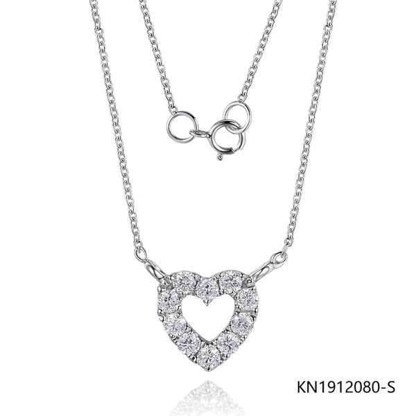 S925 Sterling Silver Necklace In Hollow Love Heart Pendant with Clear CZ Stones
