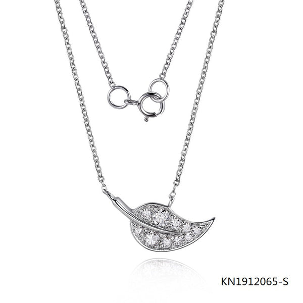 S925 Sterling Silver Necklace In Leaf Pendant with Clear CZ Stones