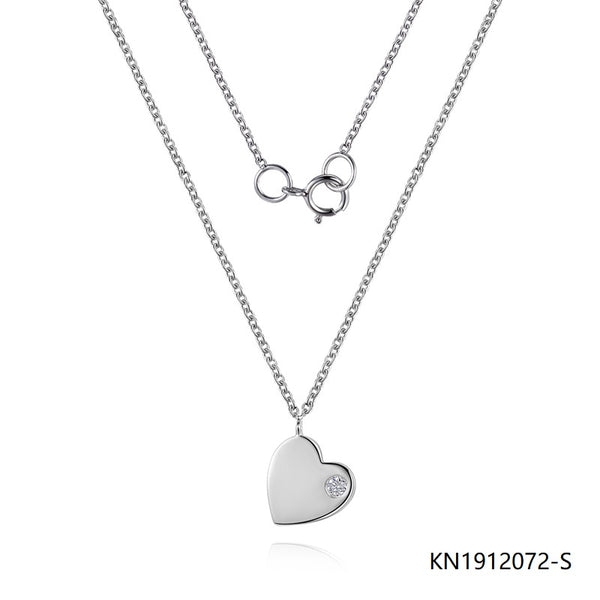 Sterling Silver Necklace Love Heart Pendant with Clear CZ Stones