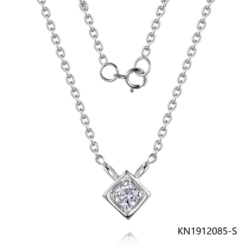S925 Sterling Silver Necklace Rhombic Pendant with Clear CZ Stones