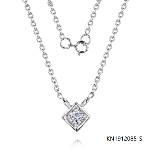 Kadart Sterling Silver Necklace Rhombic Pendant with Clear CZ Stones