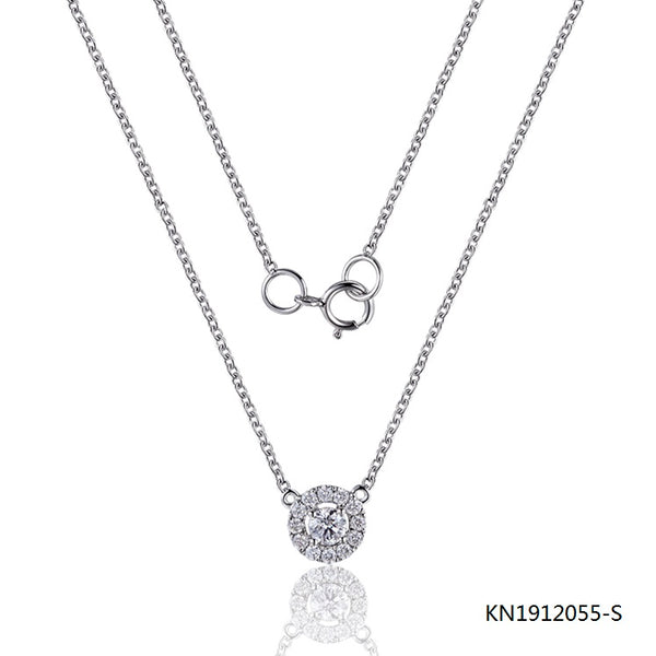 KadArt Sterling Silver Necklace Round Pendant with Clear AAA CZ Stones