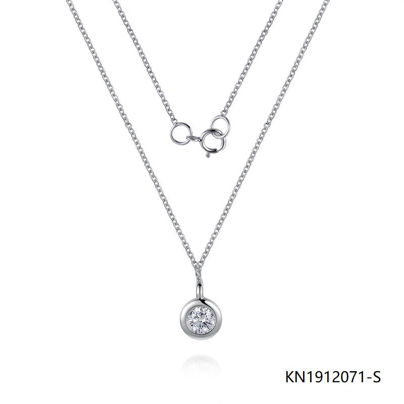Sterling Silver Necklace Round Pendant with Bling CZ Stones