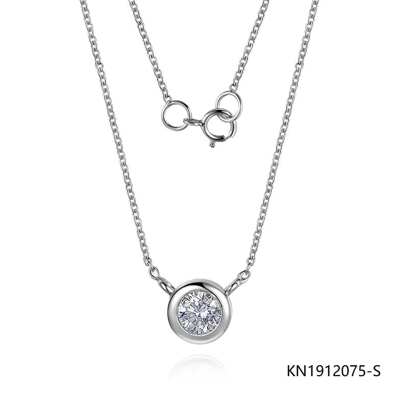 Kadart S925 Sterling Silver Necklace In Round Pendant with Brilliant Cut CZ Stone
