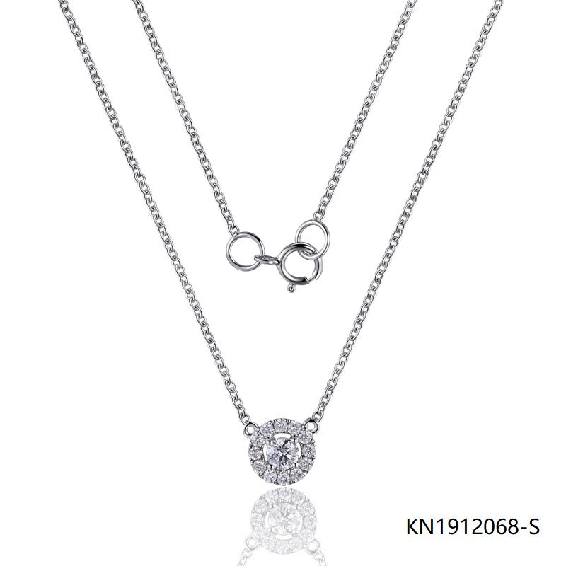 KadArt Sterling Silver Necklace In Circle Pendant with Clear CZ Stones
