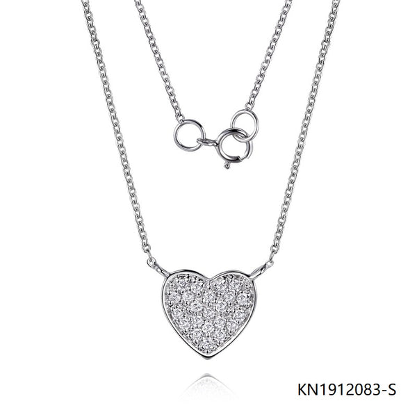 Kadart Sterling Silver Necklace Solid Heart Pendant with CZ Stones