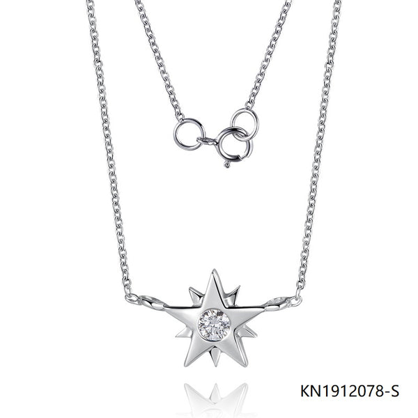 Sterling Silver Necklace In Star Pendant with Brilliant Cut CZ Stone