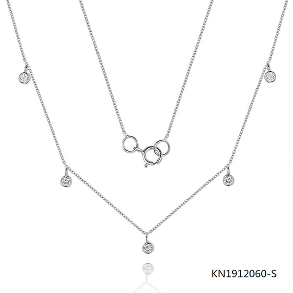 KadArt Sterling Silver Necklace and 5 Clear CZ Stones Pendant
