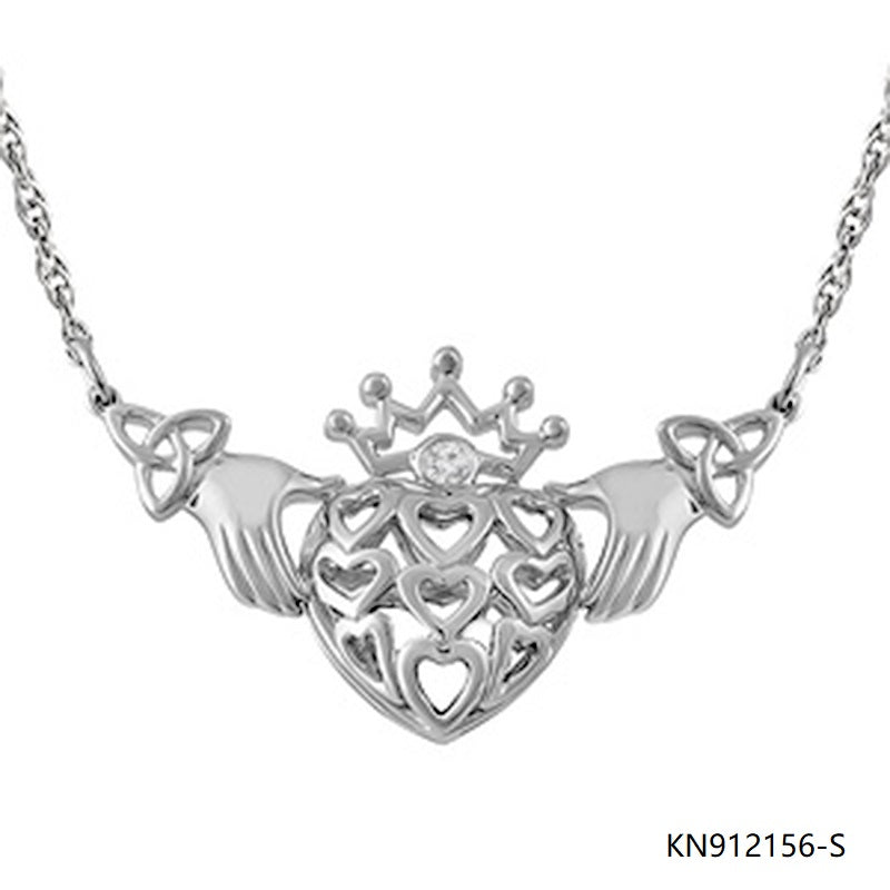 925 Silver Necklace and Claddagh Style Cubic Zirconia Pendant