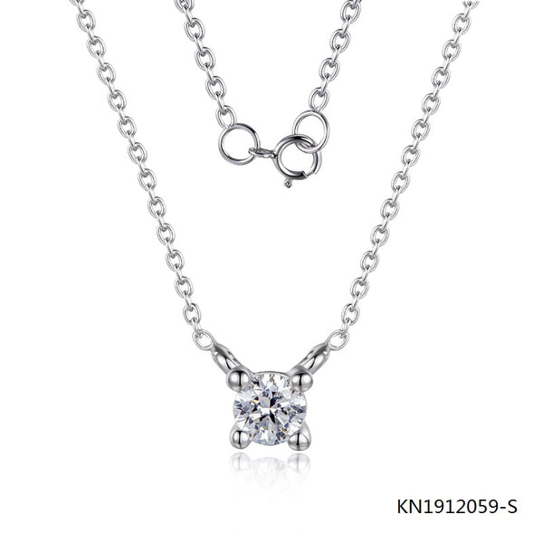 KadArt Sterling Silver Necklace In Round Hand Setting CZ Stone Pendant
