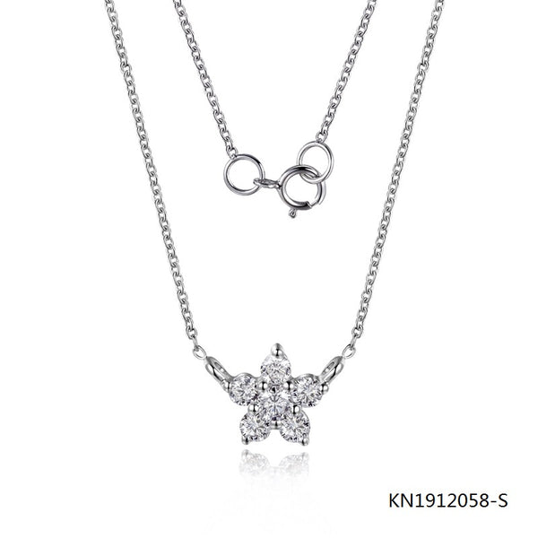 KadArt Sterling Silver Necklace Snowflake Pendant with Clear CZ Stones