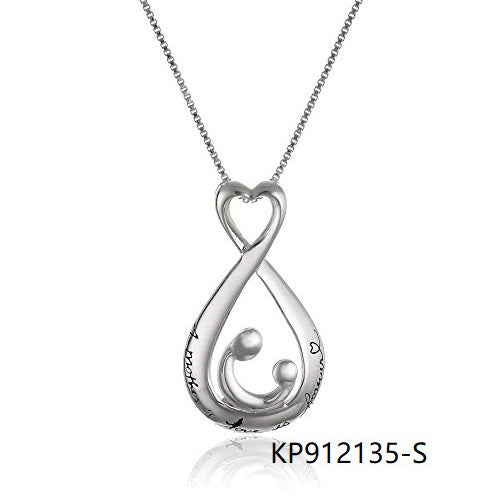 Open Teardrop Sterling Silver A Mother's Love is Forever Pendant