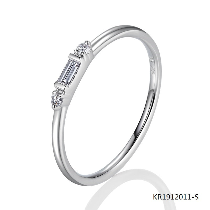 Sterling Silver Ring Clear Baguette Cubic Zirconia Stone