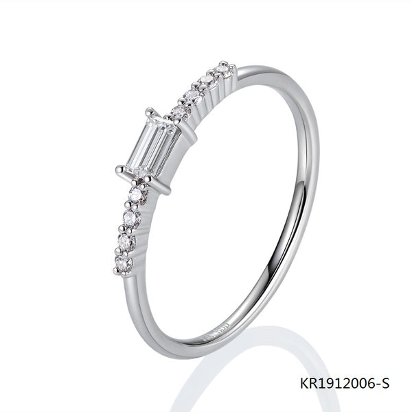 Sterling Silver Ring with Center Clear Baguette Cubic Zirconia Stone