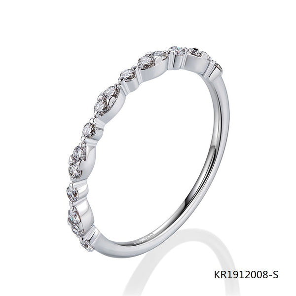 Sterling Silver Ring with Half Circle Clear Cubic Zirconia Stones