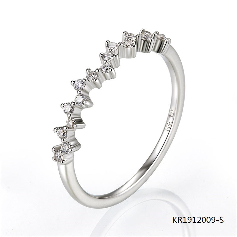Sterling Silver Ring with Half Circle Wave Clear CZ Stones