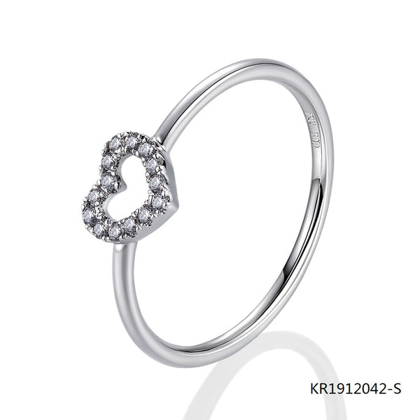 KadArt Sterling Silver  Love Heart Ring with Clear Cubic Zirconia