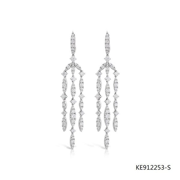 Eclipse Chandelier CZ Stones Drop Earrings in Sterling Silver
