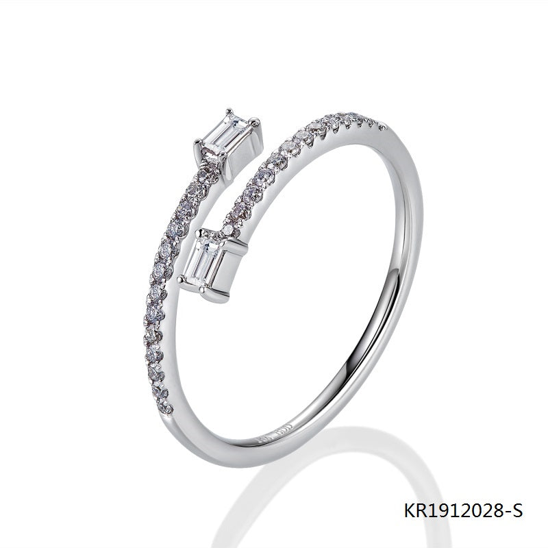 Kadart Sterling Silver Double-end Engagement Ring with Clear CZ Stones