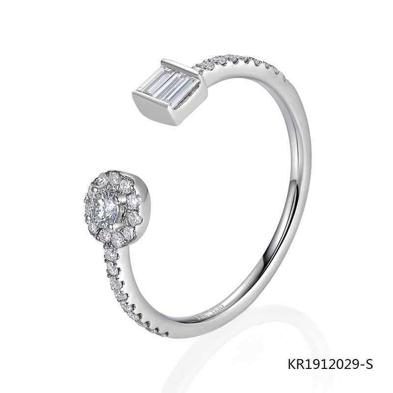 Kadart Sterling Silver Engagement Ring with Clear Round and Baguette Cut CZ Stones