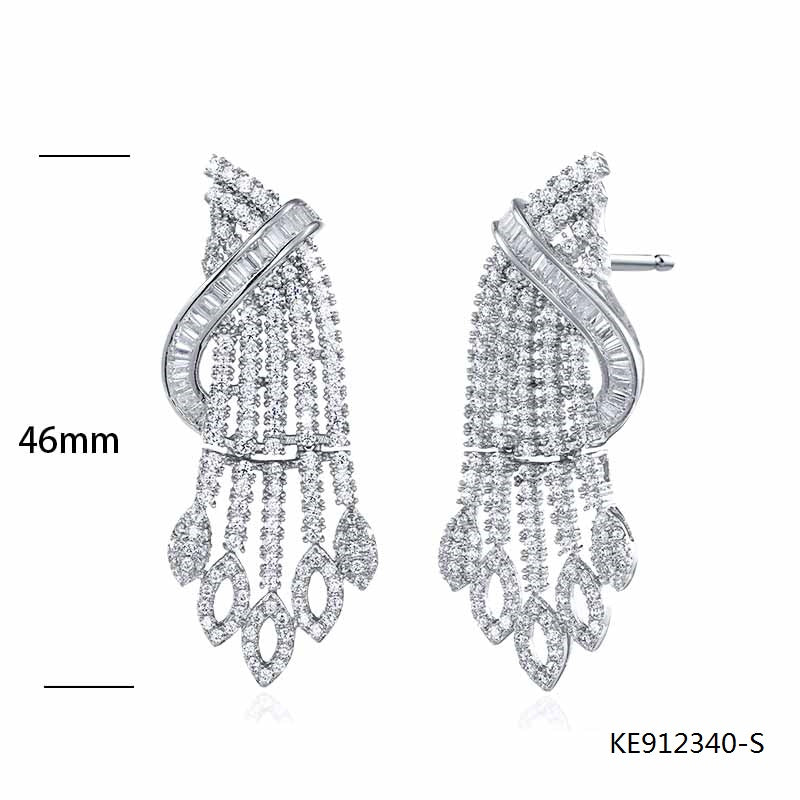 Clear Cubic Zirconia Stones Sterling Silver Earrings for Wedding
