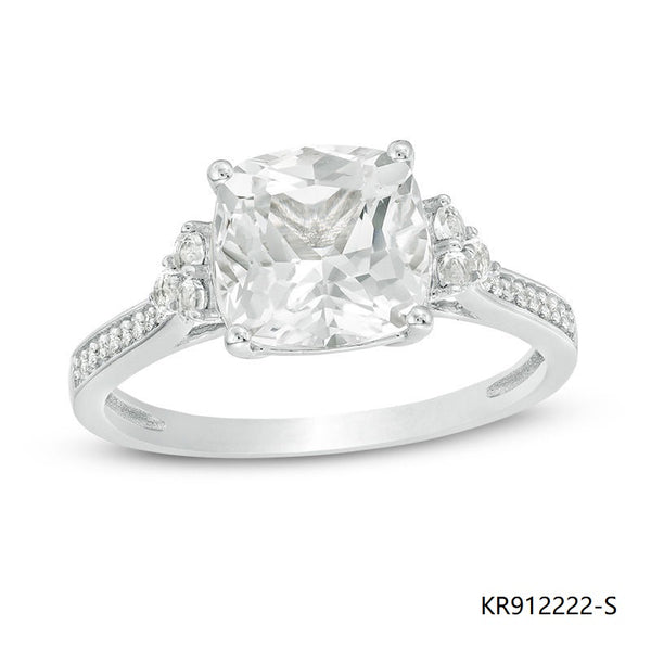 Cushion-Cut Cubic Zirconia Sterling Silver Engagement Ring