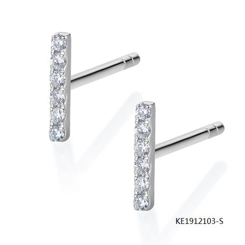 KadArt Classic T Shape Sterling Silver Earring Studs with Clear CZ Stones
