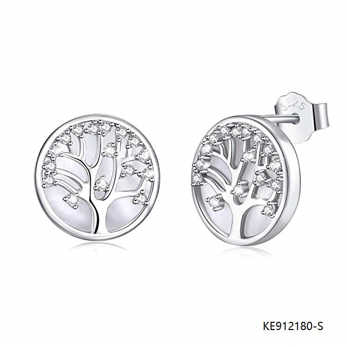 Sterling Silver Tree of Life Pedant Earring with Cubic Zirconia