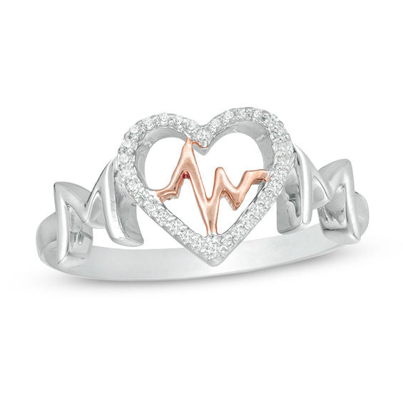 "Two-Toned ""MOM"" Heartbeat Sterling Silver Ring with Cubic Zirconia"