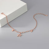 rose gold plated S925 silver star charm bracelet on the box