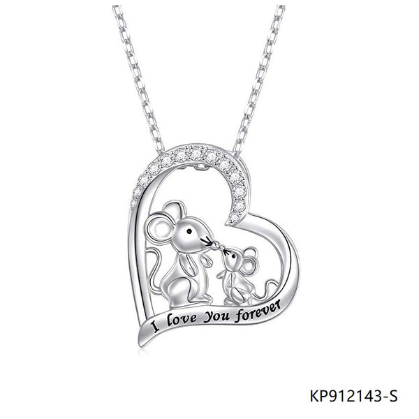 I Love You Forever Silver Animal Love Heart CZ Necklace Pendant
