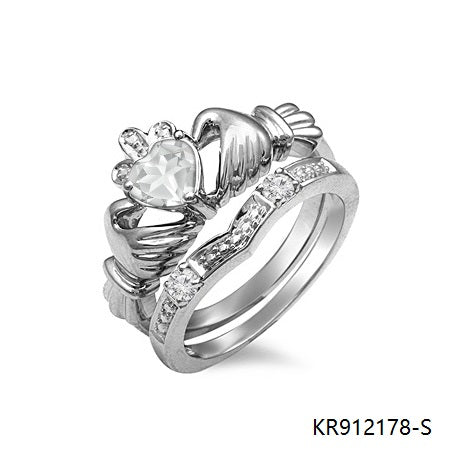 Claddagh Ring Sterling Silver with Clear Cubic Zirconia Stone