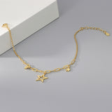 yellow gold plated S925 silver star charm bracelet on jewelry box