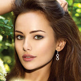 model girl wear silver Infinity Dangle Drop Earrings cz hoop jewelry