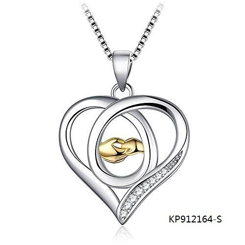 Two-tone Hand Hold Hand Sterling Silver Necklace CZ love heart pendant