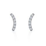 Arched Sterling Silver Earring Stud with Clear Cubic Zirconia Stone