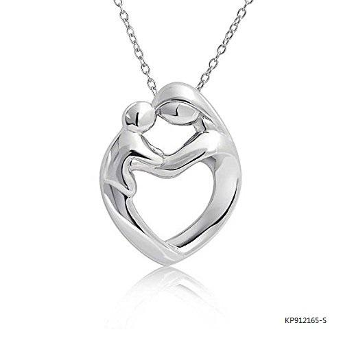 Mother Child Love Heart Polished Sterling Silver Necklaces Pendant