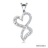 Mother&Daughter Forever Love Sterling Silver CZ Love Heart Necklace Pendant