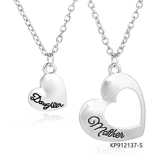Daughter Momther Matching Heart Sterling Silver Necklaces Pendant