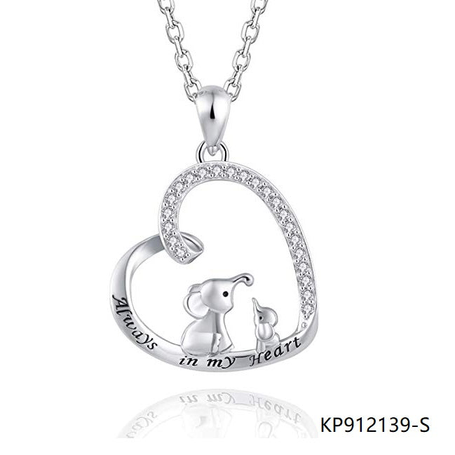 Sterling Silver Necklace love heart mother daughter elephant CZ pendant