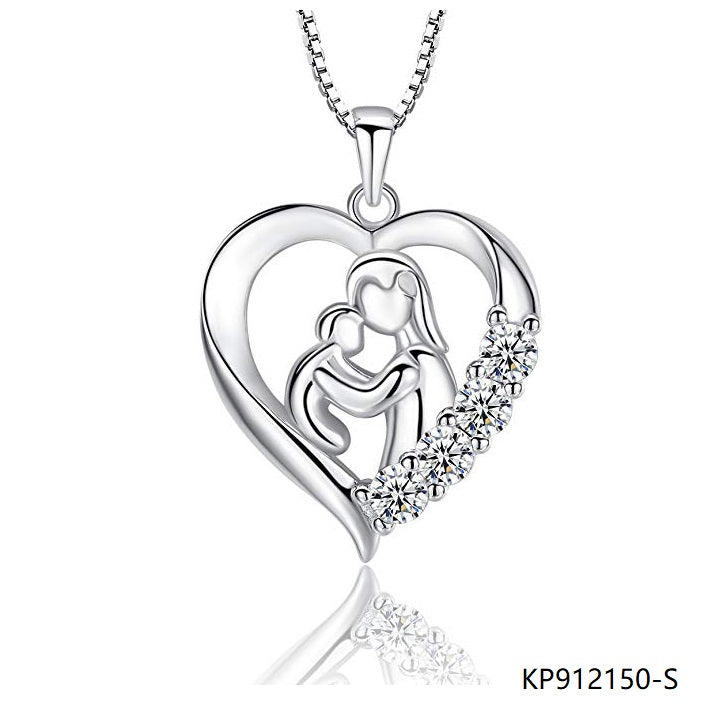 Mother and Child Sterling Silver CZ Love Heart Necklace Pendant