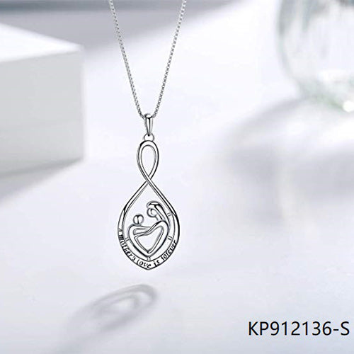 Heart Infinity Sterling Silver A Mother's Love is Forever Pendant