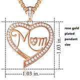Rose Gold Plated Sparkling MOM CZ Sterling Silver Love Heart Necklace Pendant