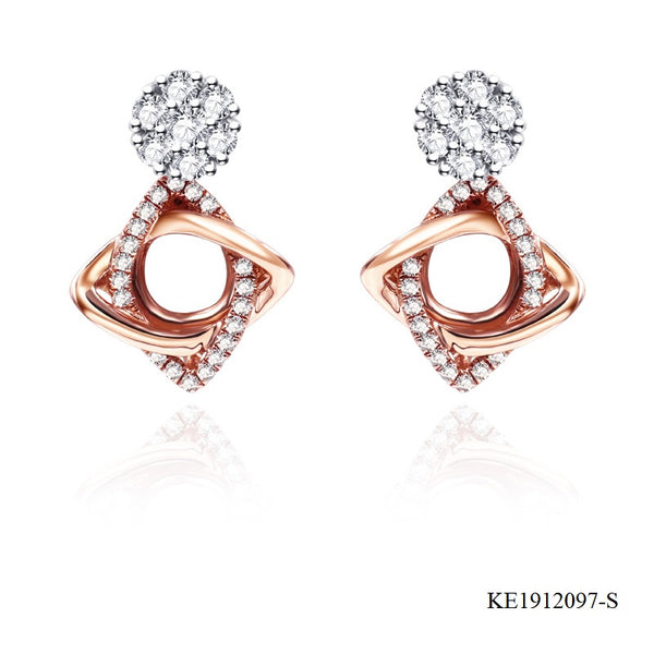 14K Rose Gold Plated Sterling Silver CZ Twist Earrings