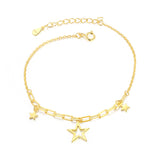 yellow gold plated S925 silver star charm bracelet