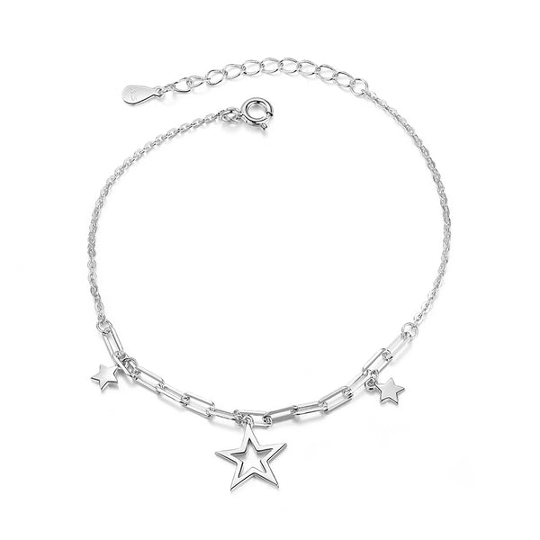 Adjustable S925 Sterling Silver Star Charm Bracelet white gold