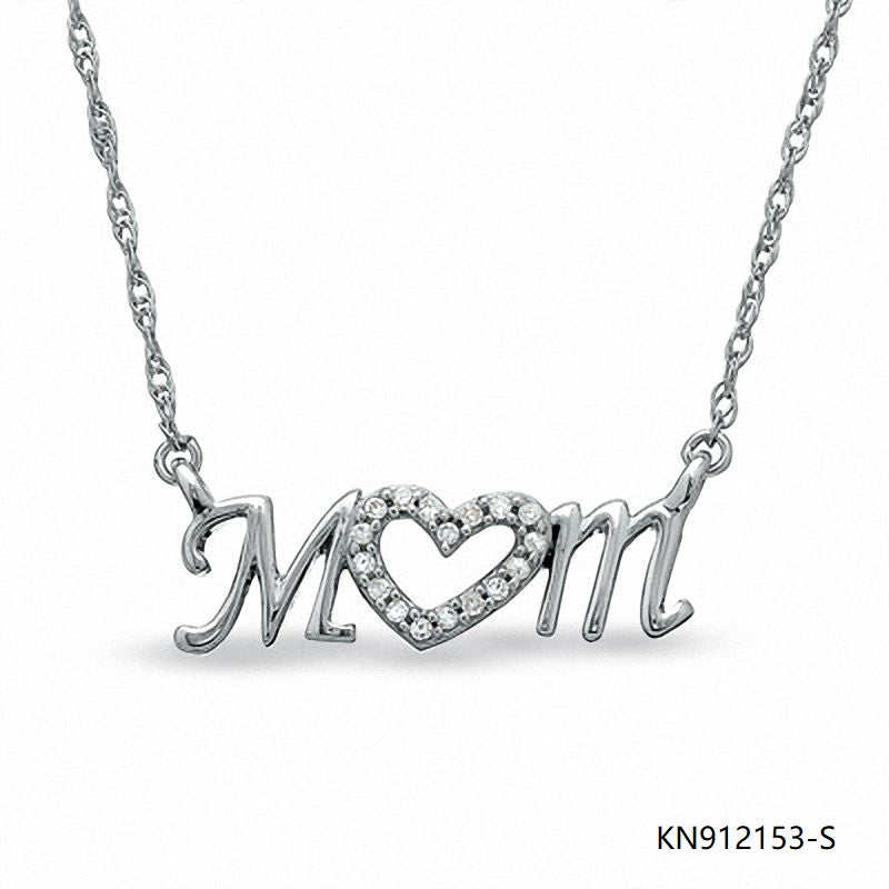 Sterling Silver Necklace and mom Cubic Zirconia pendant