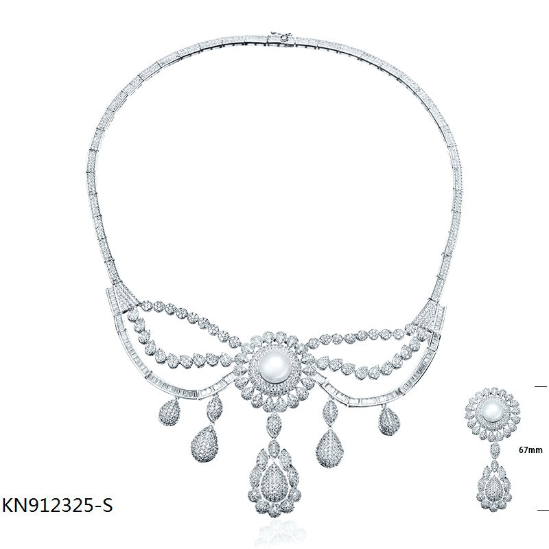 Deluxe CZ S925 Sterling Silver Bridal Necklace for Wedding