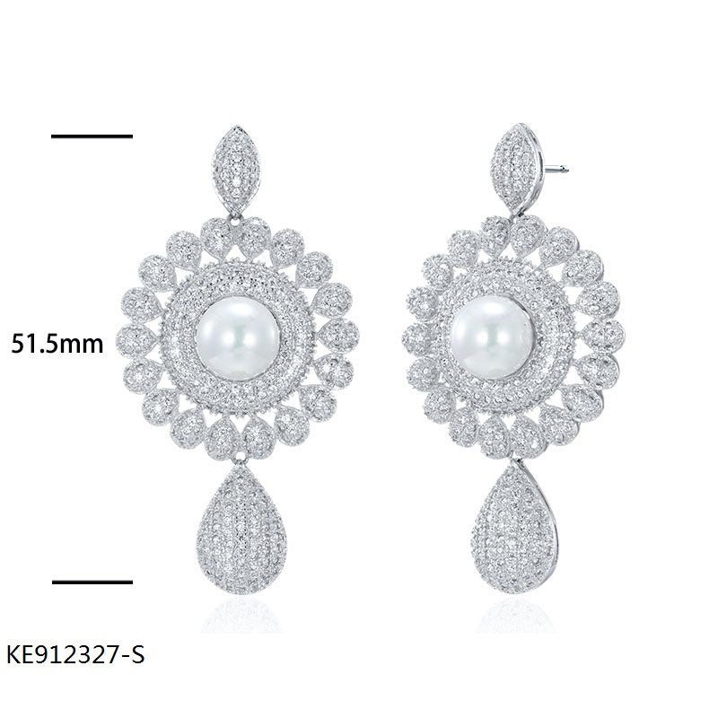 Deluxe CZ Pearl Sterling Silver Bridal Earrings for Wedding