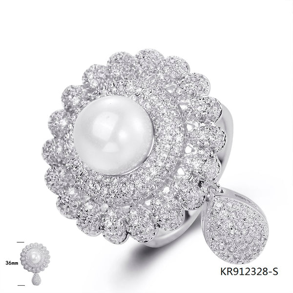 Deluxe Cubic Zirconia Pearl Sterling Silver Bridal Ring for Wedding